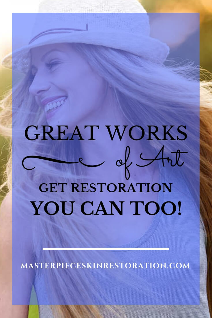 "beautiful woman wearing hat with blue text overlay, ""Great Works of Art Get Restoration! You Can Too! 