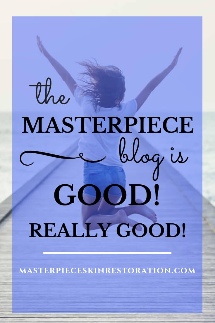 "Woman jumping on a dock with blue text overlay, ""The Masterpiece blog is GOOD! Really Good! 