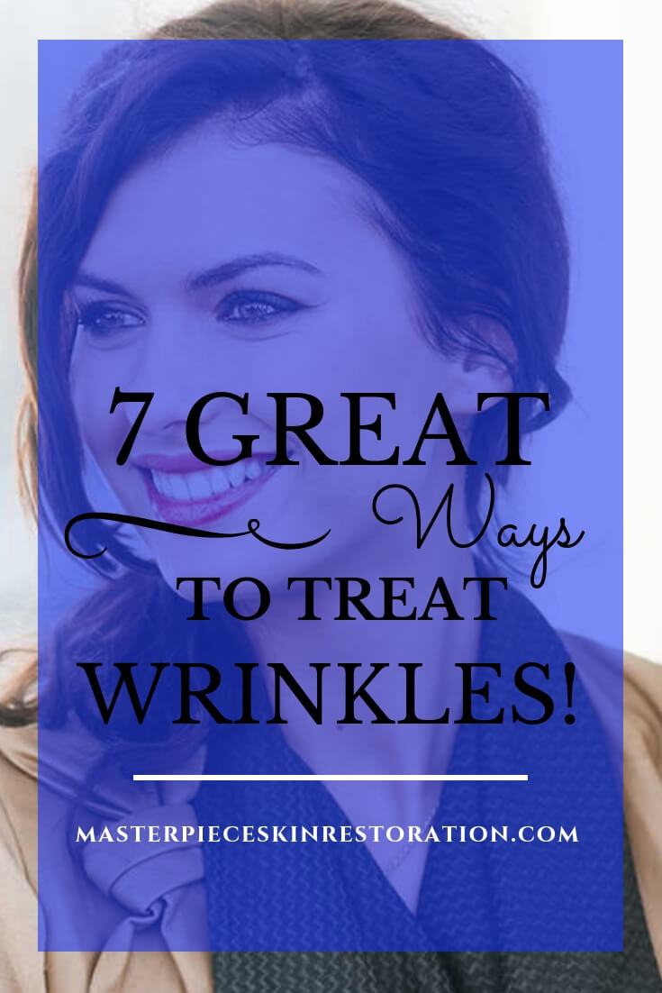 """beautiful businesswoman smiling with blue text overlay, """"7 Great Ways to Treat Wrinkles 