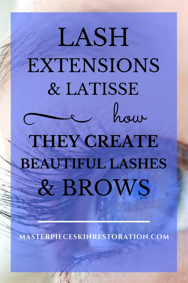 "pretty eye with blue text overlay, ""Lash Extensions & Latisse 