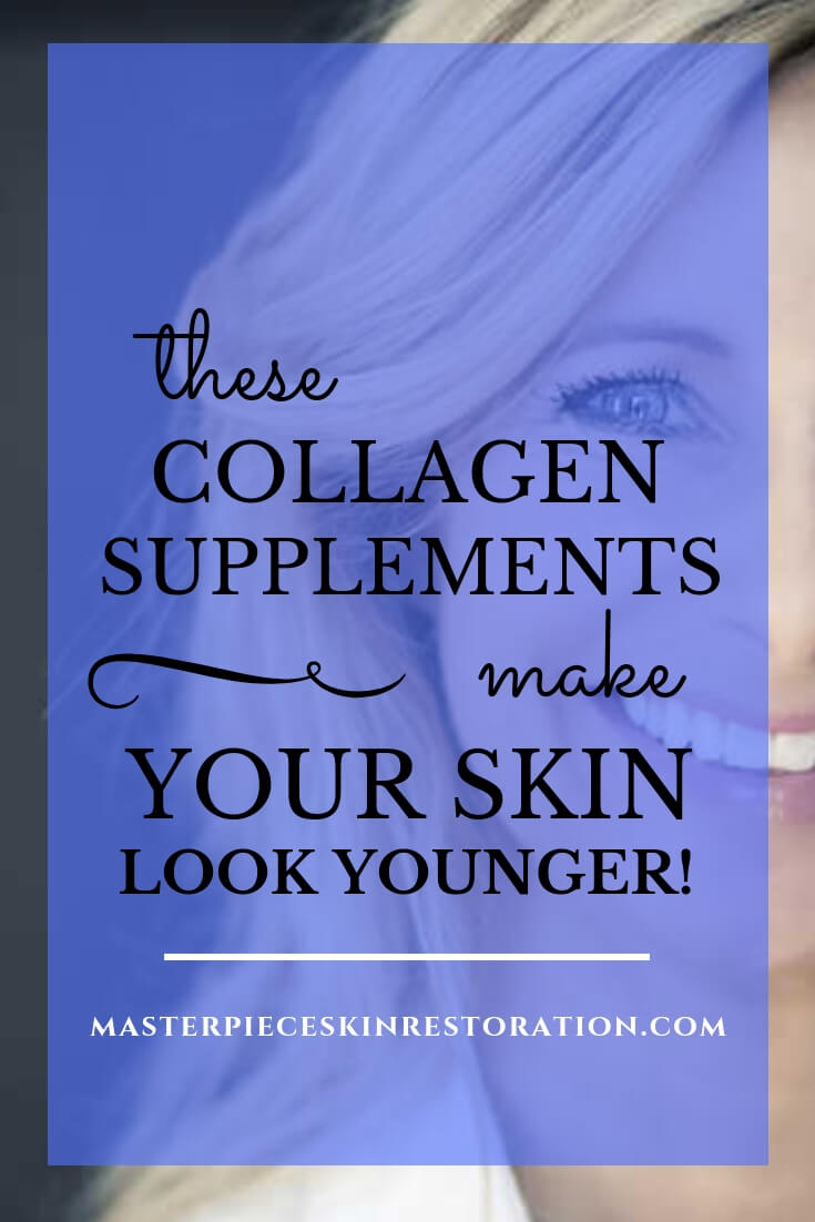 "Pretty mature woman, blonde hair, white shirt, smiling with blue text overlay, ""These Collagen Supplements Make Your Skin Act Younger! 
