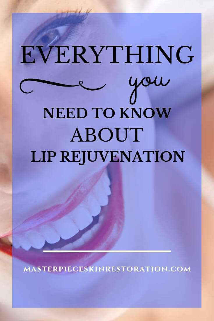 "smiling woman with beautiful lips wearing red lipstick looking up with blue text overlay, ""Everything You Need to Know About Lip Rejuvenation Techniques 