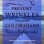 "Kayak on Horsetooth Reservoir with blue text overlay, ""10 Ways to Prevent Wrinkles | Coloradans Have a Higher Risk! | MasterpieceSkinRestoration.com"""