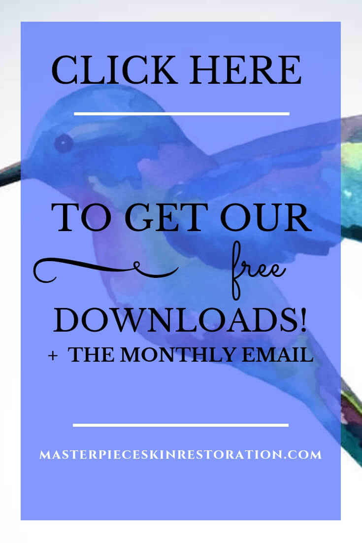 "Watercolor hummingbird with blue text overlay, ""Click Here to Get Our Free Downloads! + Othe Monthly Email 