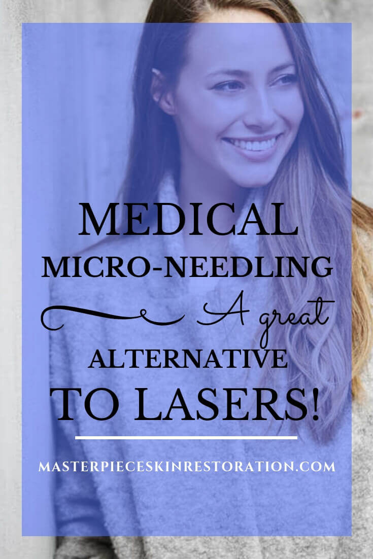 "Beautiful young woman wearing a grey coat smiling with blue text overlay, ""Medical Micro-Needling 