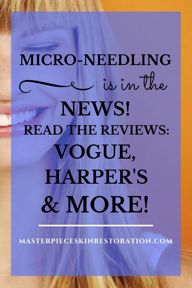 "young woman with long blonde hair smiling against orange background with blue text overlay, ""Micro-Needling Is in the News! 