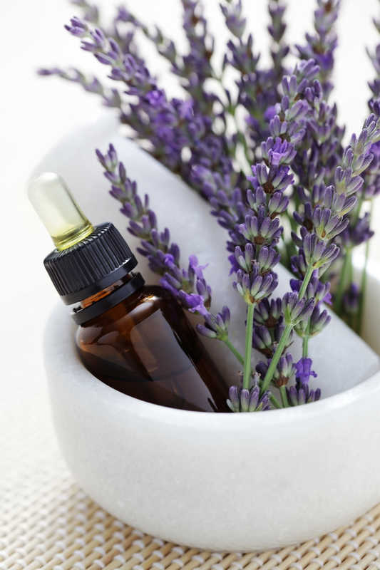 lavender in a white mortar and pestle