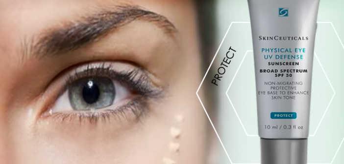 woman's eye next to a tube of SkinCeuticals Phyiscal Eye UV Defense | Eye Rejuvenation | 21 Methods That REALLY Work! | Masterpiece Skin Restoration