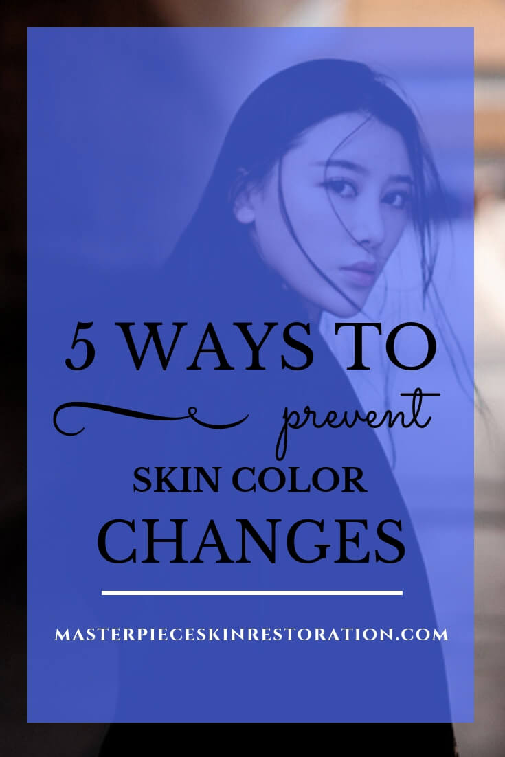 """woman of Asian descent looking back over her shoulder with blue text overlay, """"5 Ways to Prevent Skin Color Changes 