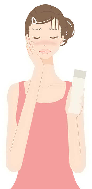 cartoon girl applying lotion to her face | 8 Ingredients in Lip Balm & Cosmetics That Cause Allergies | Masterpiece Skin Restoration