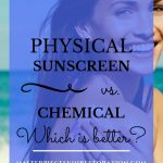"""Beautiful Young woman with pretty skin applying sunscreen with blue text overlay, """"Physical Sunscreen vs. Chemical 
