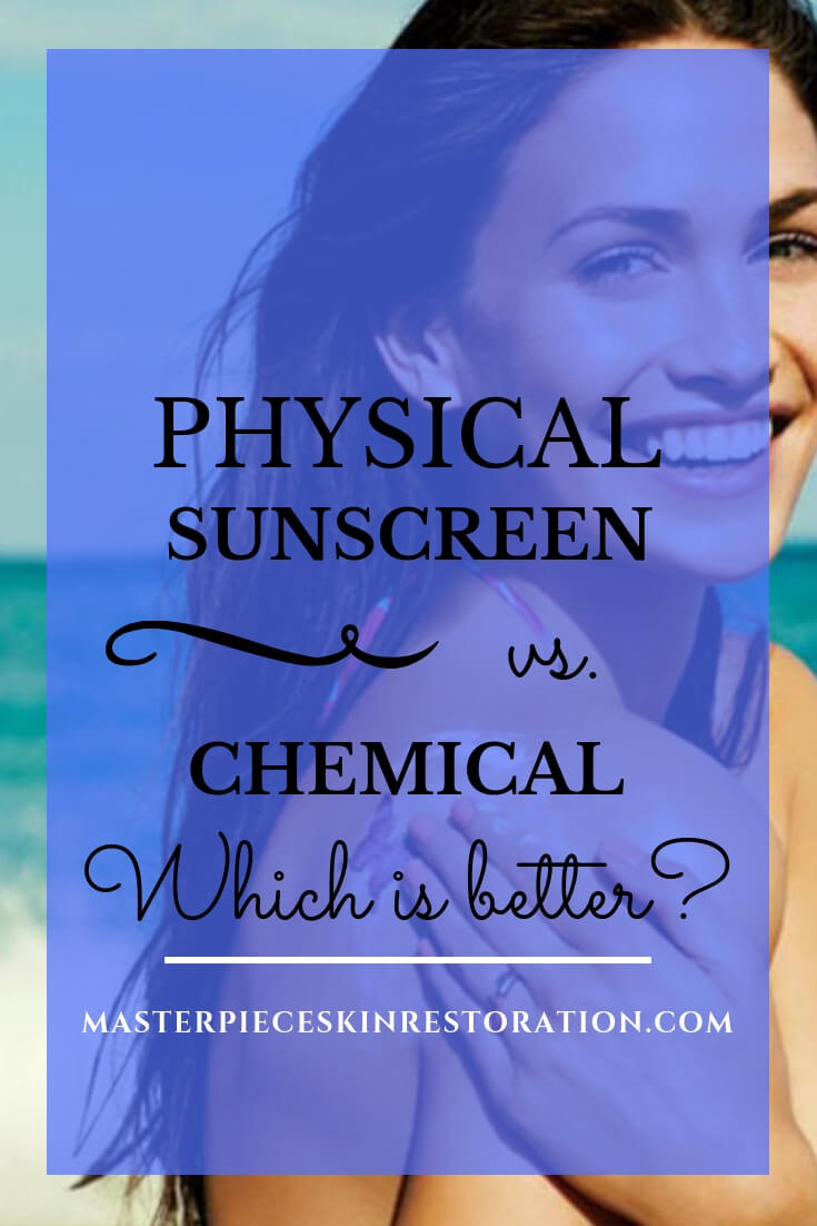 "Beautiful Young woman with pretty skin applying sunscreen with blue text overlay, ""Physical Sunscreen vs. Chemical 