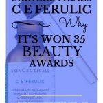 "SkinCeuticals C E Ferulic and dropper with blue text overlay, ""SkinCeuticals C E Ferulic | Why It's Won 24 Beauty Awards | MasterpieceSkinRestoration.com"""