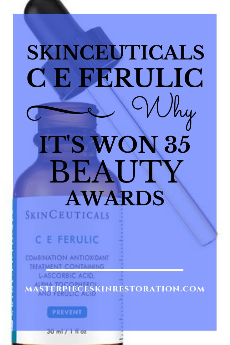 "SkinCeuticals C E Ferulic and dropper with blue text overlay, ""SkinCeuticals C E Ferulic 