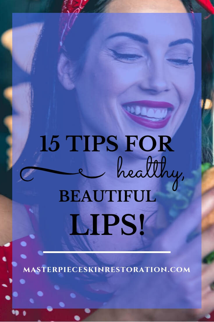 "Pretty woman with red lipstick eating a hamburger with blue text overlay, ""15 Tips for Beautiful, Healthy Lips 