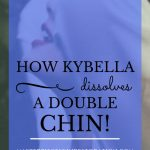 """profile of a woman's neck, hands in her long hair, with blue text overlay, """"How Kybella Dissolves a Double Chin 