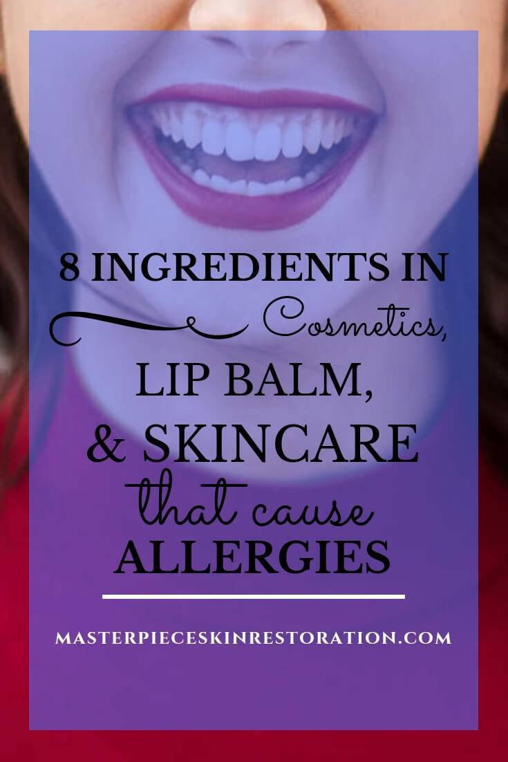 "closeup of young woman's BIG smile with blue text overlay, ""8 Ingredients in Cosmetics, Lip Balm, & Skincare That Cause Allergies 