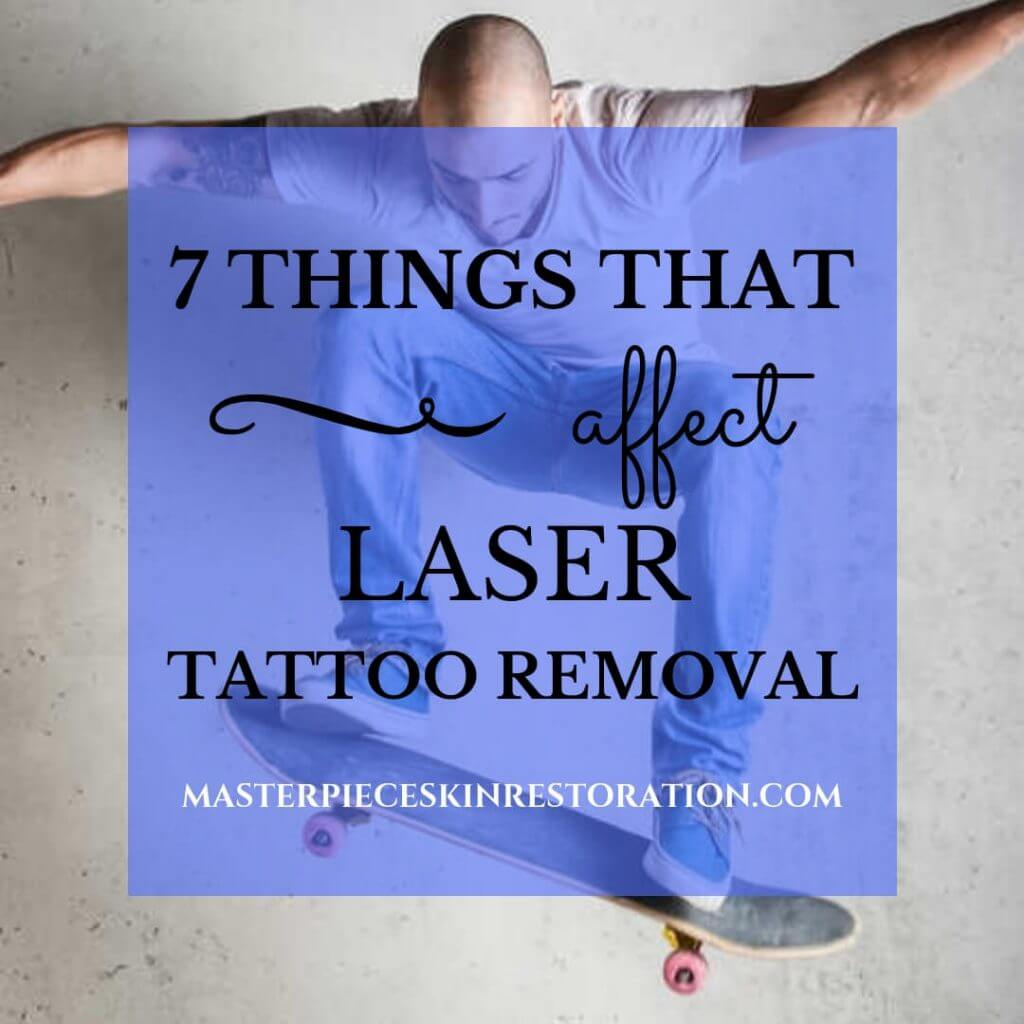 "Man on skateboard with tattoo and blue text overlay, ""7 Things That Affect Laser Tattoo Removal 