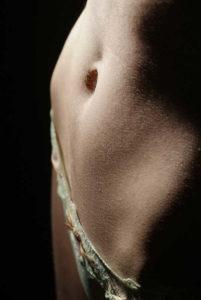 closeup of woman's abdomen with bikini style underwear