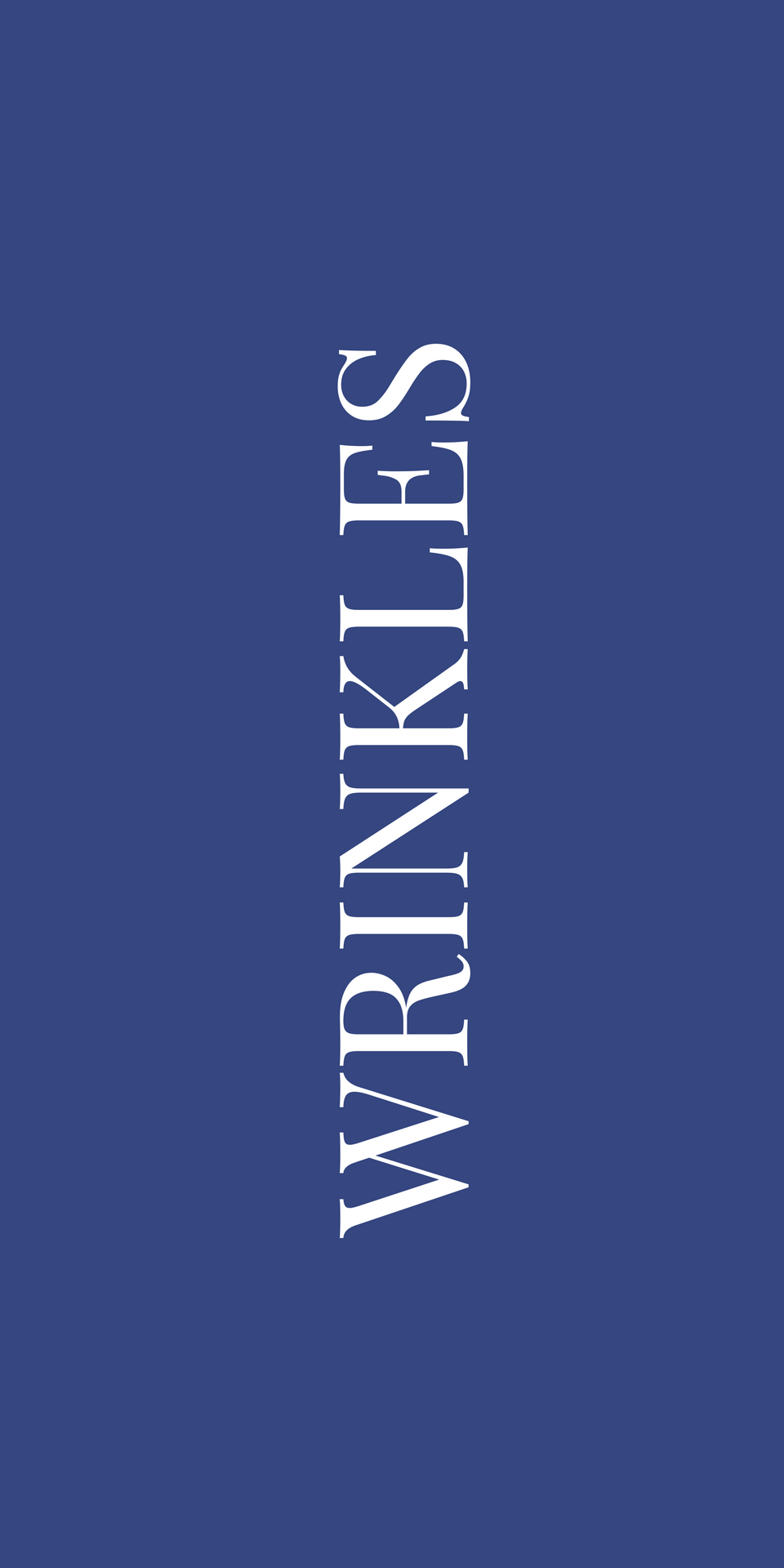 """white """"wrinkles"""" text on navy blue background 