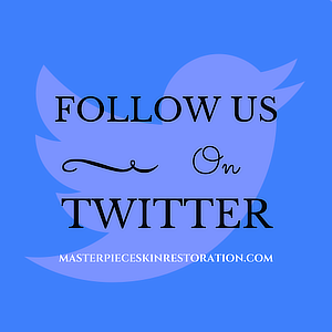 "Twitter logo with blue text overlay, ""Follow Us on Twitter 