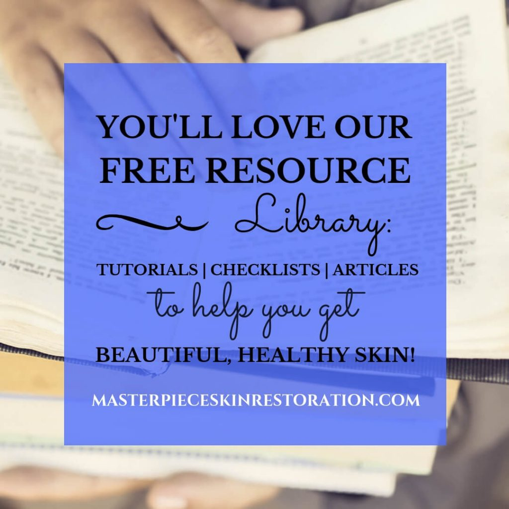 "hands holding an open book with blue text overlay, ""You'll Love Our Free Resource Library:  Tutorials 
