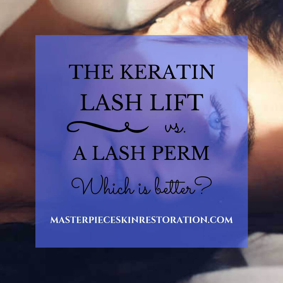 "woman with beautiful lashes lying down with blue text overlay, ""The Keratin Lash Lift vs. a Lash Perm 