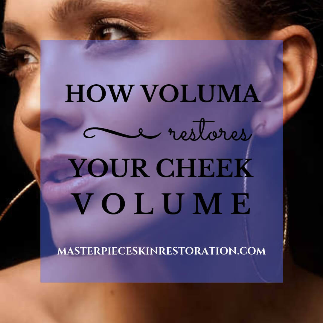 "Closeup of woman with beautiful cheekbones & hoop earrings with blue text overlay, ""How Voluma Restores Your Cheek Volume 