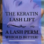 """woman beautiful lashes floating in the water with blue text overlay, """"The Keratin Lash Lift vs. a Lash Perm 