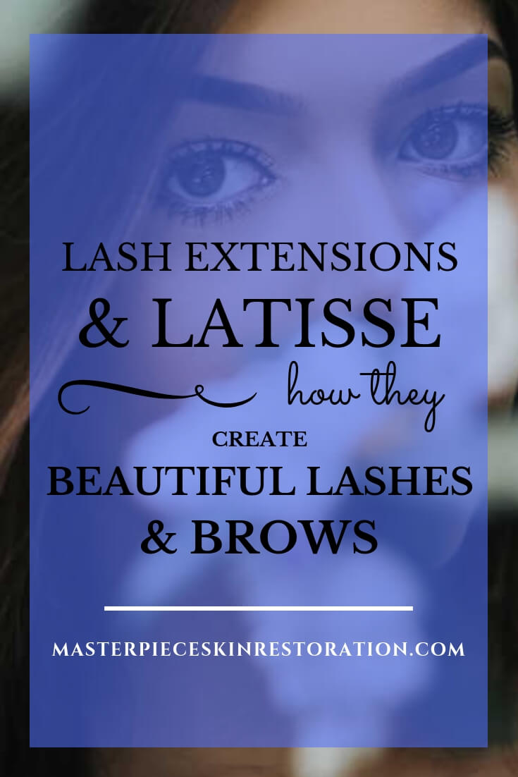 """Closup of woman's beautiful eyes and brows looking over out of focus flowers with blue text overlay, """"Lash Extensions & Latisse 