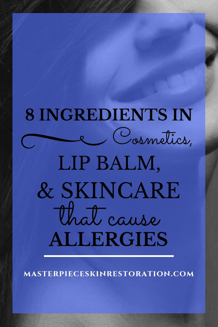 "beautiful woman smiling with blue text overlay, ""8 Ingredients in Cosmetics, Lip Balm, & Skincare That Cause Allergies 