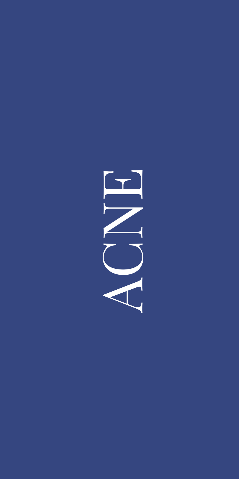 ACNE on navy blue background
