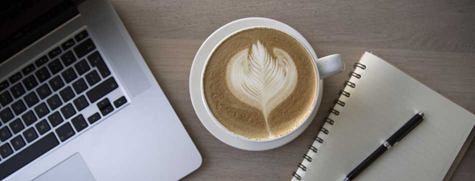 Coffee, laptop, notebook & pen | Looking for Bloggers & Experts to Guest Post on Medical Aesthetics, Skincare, Beauty & Wellness | Masterpiece Skin Restoration