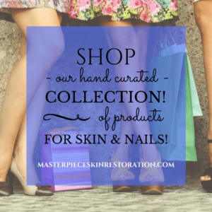 "Women's legs and shopping bags with blue text overlay, ""SHOP 