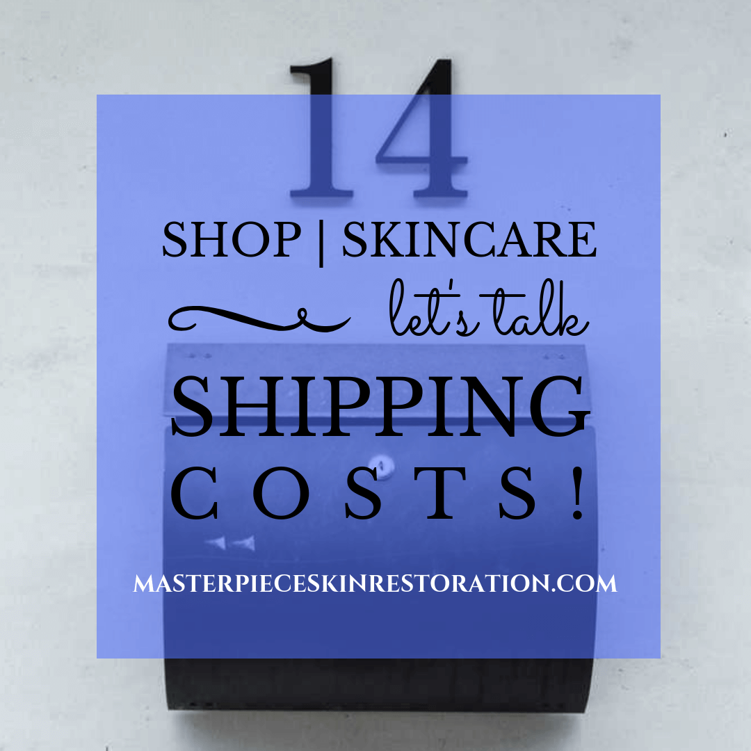 "Black mailbox and black house number ""14"" on concrete wall with blue text overlay, ""Shop Skincare 