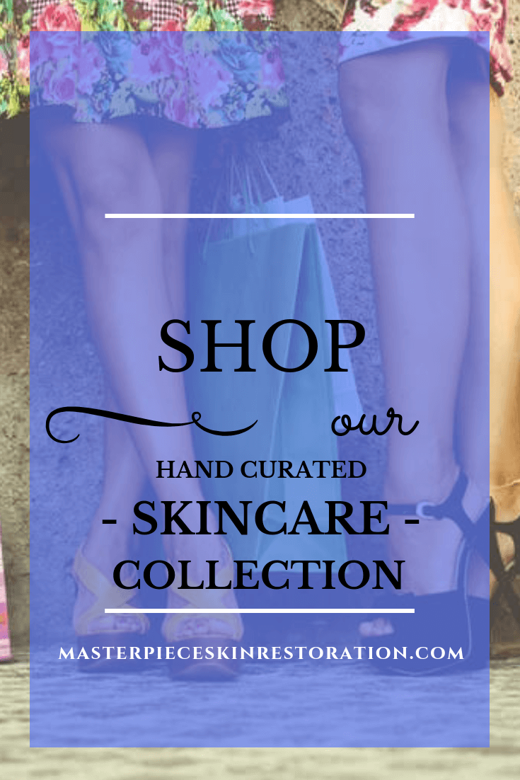 "Women's legs, high heels, holding shopping bags with text overlay, ""Shop Our Hand Curated Skincare Collection! 