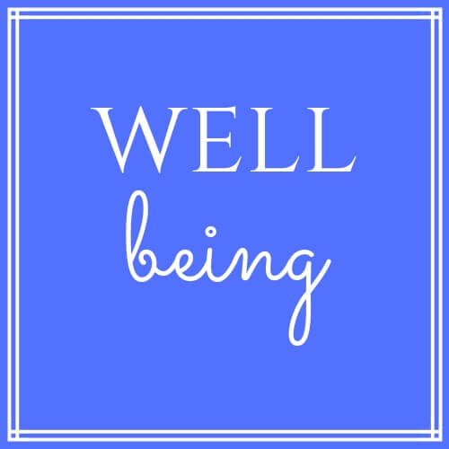 """Wellbeing"" text on blue background"