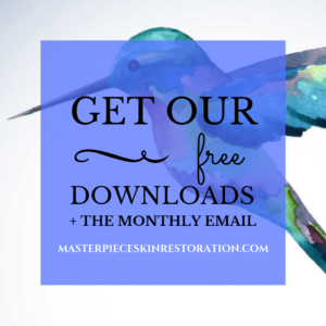 "Hummingbird with blue text overlay, ""Get Our Free Downloads + the Monthly Email 