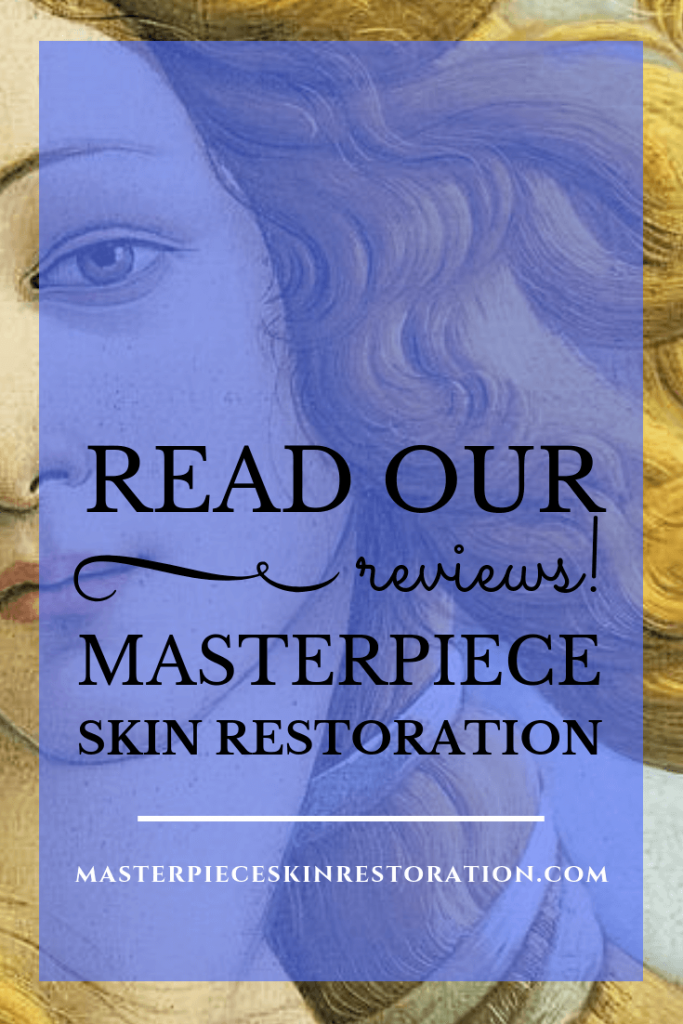 """Botticelli's Venus with blue text overlay, """"People Think We're Doing a Great Job & Tell Others!   MasterpieceSkinRestoration.com"""""""