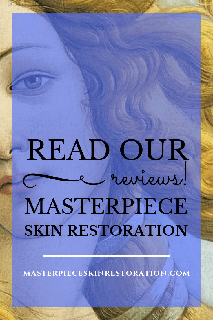 "Botticelli's Venus with blue text overlay, ""People Think We're Doing a Great Job & Tell Others! 
