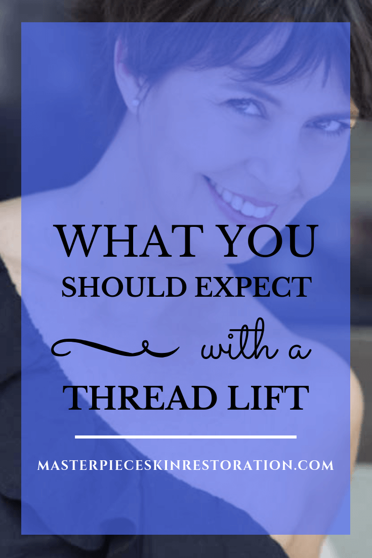 """Beautiful mature woman with short dark hair and black dress with blue text overlay, """"What You Should Expect With a Thread Lift 