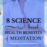 "Woman with long dark hair meditating on the beach with blue text overlay, ""8 Science Based Health Benefits of Meditation 