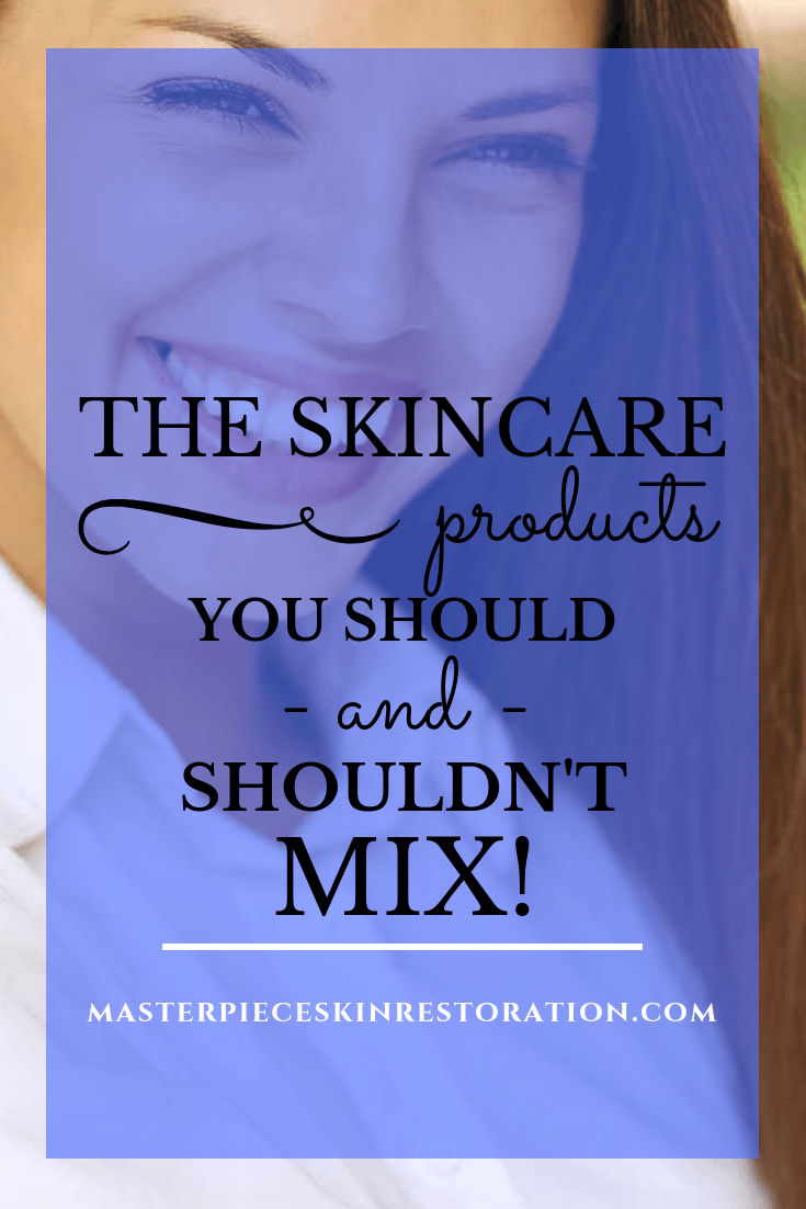 "Beautiful woman with long hair and medium tone skin with blue text overlay, ""The Skincare Products You Should and Shouldn't Mix! 