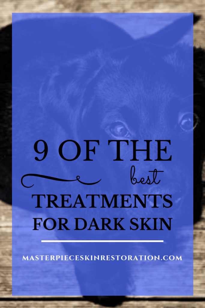 """black lab puppy looking up with blue text overlay, """"9 of the Best Treatments for Dark Skin 