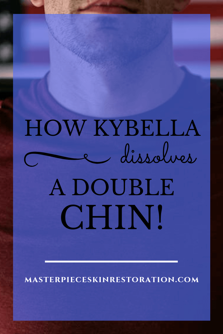 """Closeup of man's neck and his red t-shirt with blue text overlay, """"How Kybella Dissolves a Double Chin 