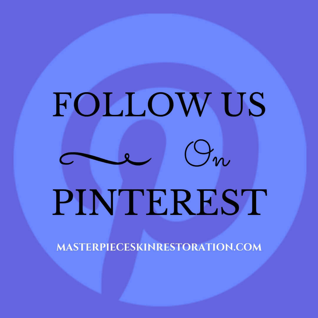 "Pinterest logo with blue text overlay, ""Follow Us on Pinterest 