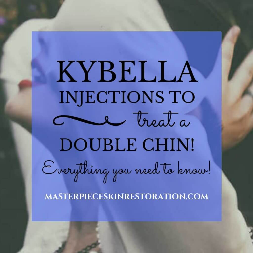 "Girl with her head back, hands pushing back her hair, neck showing and blue text overlay, ""How Kybella Dissolves a Double Chin 