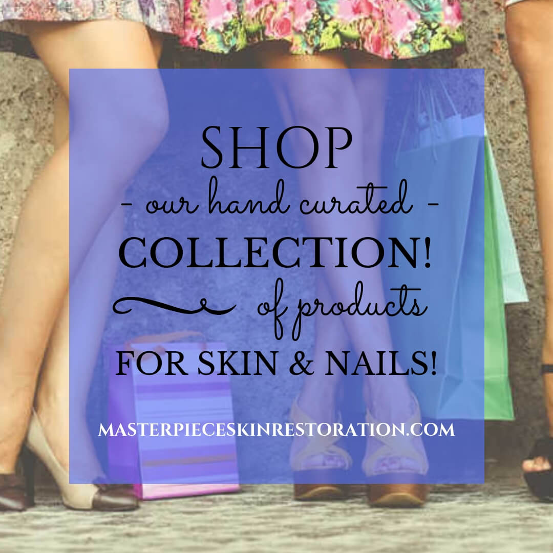 "Women's legs and shopping bags with blue text overlay, ""SHOP Our Hand Curated Collection of Products for Skin & Nails! 
