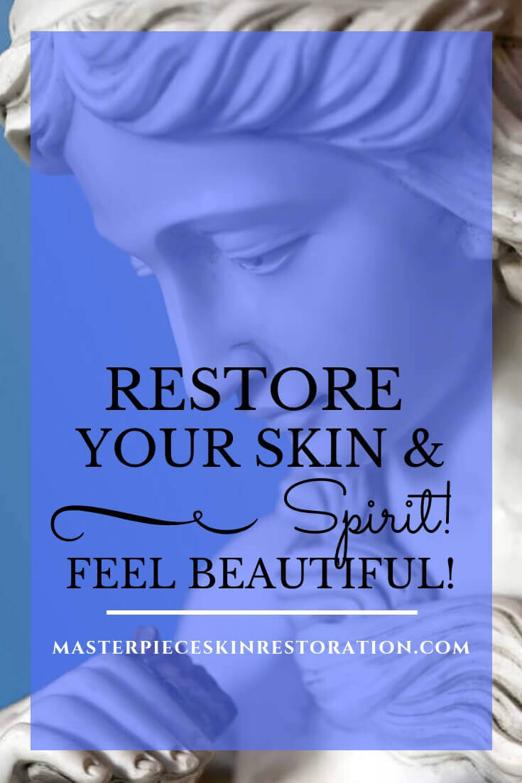 "beautiful closeup of the face of a statue with blue text overlay, ""Restore Your Skin & Spirit! Feel Beautiful! 