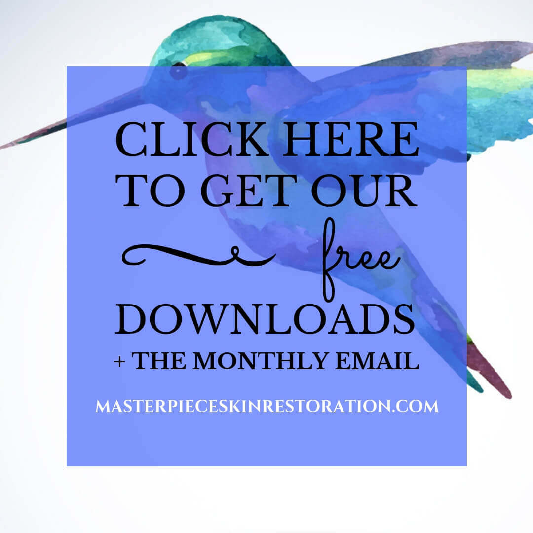 "watercolor hummingbird with blue text overlay, ""Get Our Free Downloads + the Monthly Email 